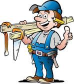 Hand-drawn Vector illustration of an Happy Carpenter Handyman — Stock Vector