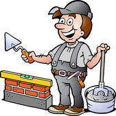 Hand-drawn Vector illustration of an Happy Bricklayer Handyman — Stock Vector