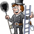 Hand-drawn Vector illustration of an Happy Chimney Sweep — Stock Vector