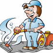 Hand-drawn Vector illustration of a Happy Carpet Cleaner - Stok Vektör