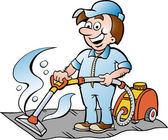 Hand-drawn Vector illustration of a Happy Carpet Cleaner — Stock Vector