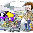 A car in a shopping basket in the supermarket — Stock Photo