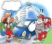 Un dueño de coche llame para asistencia en carretera — Foto de Stock