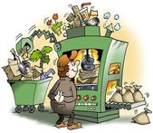 A machine that produces garbage for money — Stock Photo