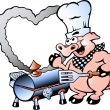 Stock Vector: Hand-drawn Vector illustration of Chef Pig making BBQ