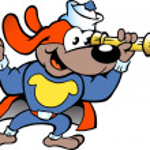 Hand-drawn Vector illustration of an Happy Super Hero Sailor Watch Dog — Stock Vector