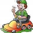 Hand-drawn Vector illustration of an happy Gardener riding his lawnmower — Vecteur