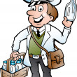 Hand-drawn Vector illustration of an Happy Milkman — Stok Vektör