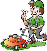 Hand-drawn Vector illustration of an happy Gardener with his lawnmower — Stock Vector