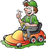 Hand-drawn Vector illustration of an happy Gardener riding his lawnmower — Stock Vector