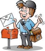Hand-drawn Vector illustration of an Happy Postman — Stock Vector