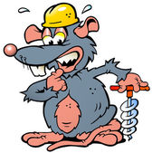 Hand-drawn Vector illustration of an scared Rat a scared rat holding a Drill — Stockvektor