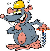 Hand-drawn Vector illustration of an Smiling Rat holding a Drill — Cтоковый вектор