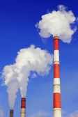 Smoking pipes of thermal power station — Stock Photo