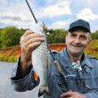 Chub in the hand of fisherman against the sky and the river — Stock Photo