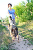 Woman runner running with dog on country road in summer nature — Stock Photo