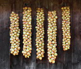 Bundles of onions drying on the wood wall — Foto Stock