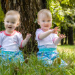 Girls twins walk in the park in summer — Stock Photo #37825837