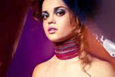Portrait of beautyful woman with colorful makeup — Stock Photo