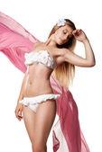 Mujer sexy delgada en traje de baño tejido aislado — Foto de Stock