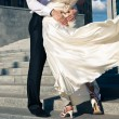 Groom and bride are dancing on their wedding — Stock Photo