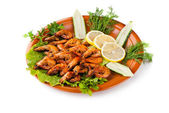 Fried Shrimps with Salad Leaves, cucumber — Stock Photo