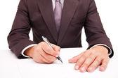 Trabajador de negocios firmar el contrato en blanco — Foto de Stock
