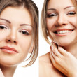 Collage of beautiful woman with perfect clean skin — Stock Photo