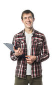 Stylish college student with notebook — Stock Photo