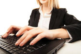 Woman hands typing on laptot, close-up, isolated — Stock Photo