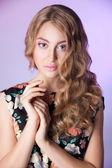 Portrait of lovely woman in romantic dress — Stock Photo