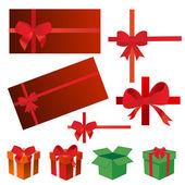 Bows, gift boxes, ribbons vector illustration — Stock Photo