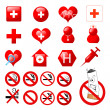 Collection of medical themed icons and warning-signs - Stock Photo