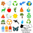Vector set of environmental / recycling icons and logos — Stock Photo #18462483