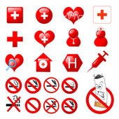 Collection of medical themed icons and warning-signs — Stock Photo
