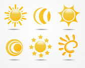 Set of sun vector — Stock Photo