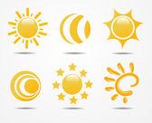 Conjunto de vectores de sol — Foto de Stock