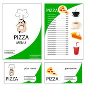 Menu and business card for pizza restaurant — Stock Photo