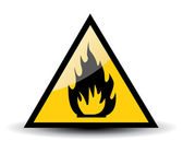 Fire warning sign on white — Stock Photo