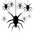 Background with spiders hanging on a web — Stock Photo