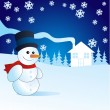 Stock Photo: Snowman, vector illustration