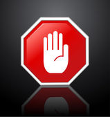 No entry hand sign on black background — Stock Photo