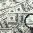 Look through a magnifying glass on the money — Stock Photo #17714771