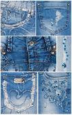 Bolsos de luz azul jeans moda — Fotografia Stock
