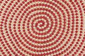 Spiral kırmızı ve beyaz boncuk — Stok fotoğraf