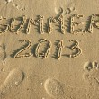 Word summer written by in the sand — Stock Photo #20499485