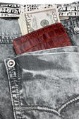 Gray jeans pocket with purse and money — Stock Photo