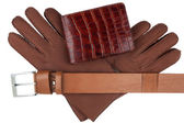 Men's wallet, belt and gloves — Stock Photo