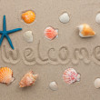 Word welcome written on the sand — Stock Photo #22377713