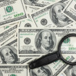 Look through a magnifying glass on the money — Stock Photo #23115740